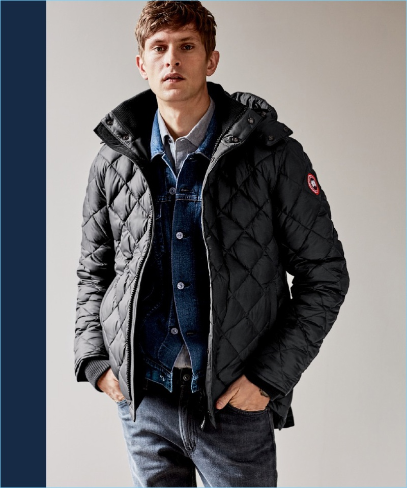 Ready for winter, Mathias Lauridsen wears a Canada Goose quilted coat $995 with a Citizens of Humanity selvedge denim jacket $368. The Danish model also rocks a Rodd & Gunn sport shirt $148 and Citizens of Humanity slim-fit jeans $208.