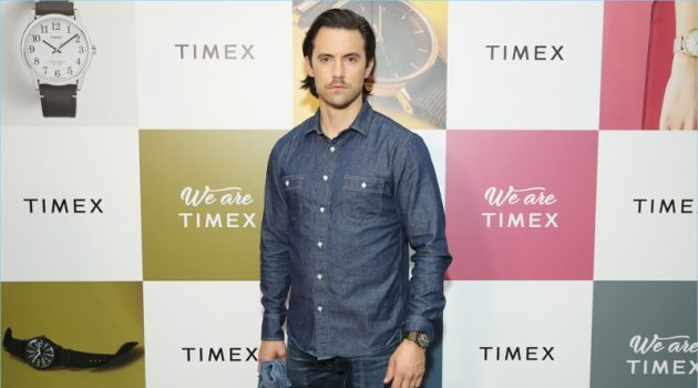 Milo Ventimiglia makes a denim proposal as he hosts an event for Timex.