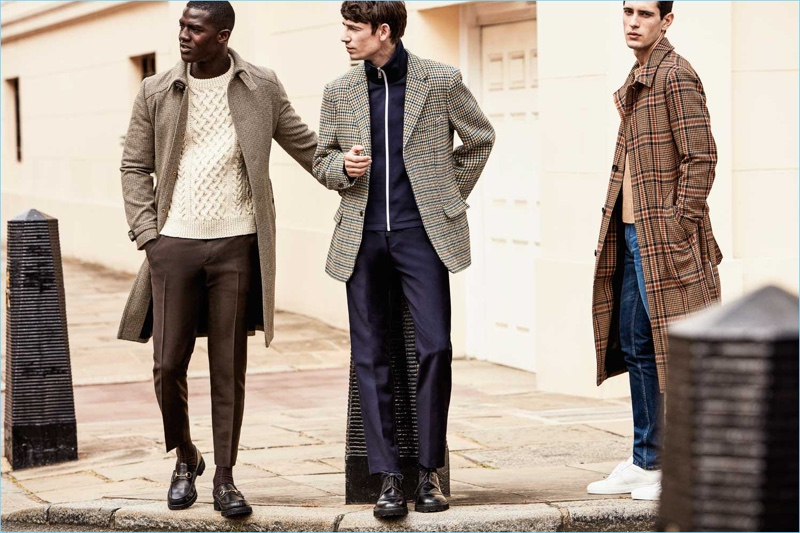 Heritage Fabrics: Mr Porter champions classic fabrics. Left to Right: Prada wool coat and trousers with a Connolly sweater. Raf Simons houndstooth wool blazer, Prada track jacket, and Acne Studios drawstring trousers. AMI check wool-blend coat, Saint Laurent sweater and denim jeans.