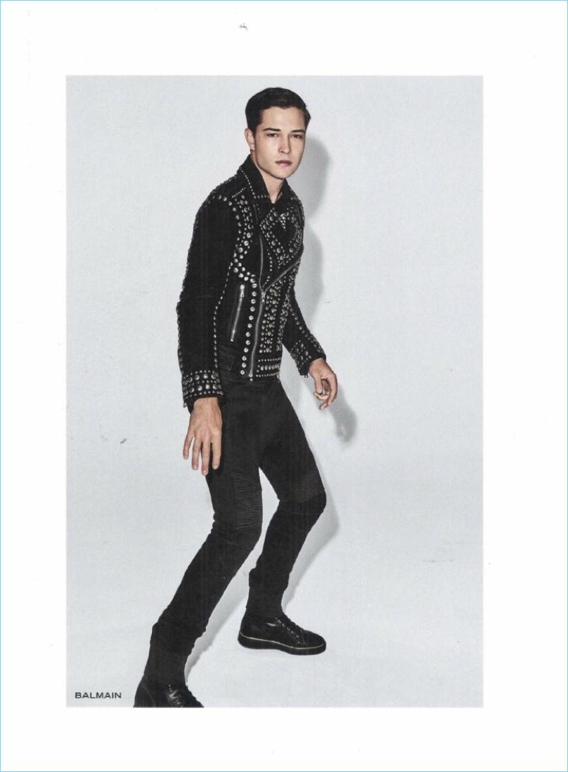 Francisco Lachowski rocks a black studded look by Balmain.