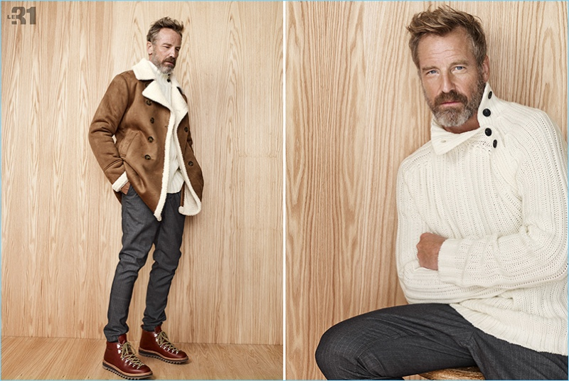 Ready for fall, Rainer Andreesen wears a shearling jacket with a turtleneck sweater.