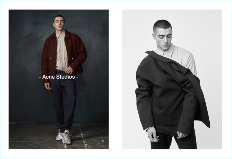 Going casual, Andrés Sanjuan models a look by Acne Studios for Simons.