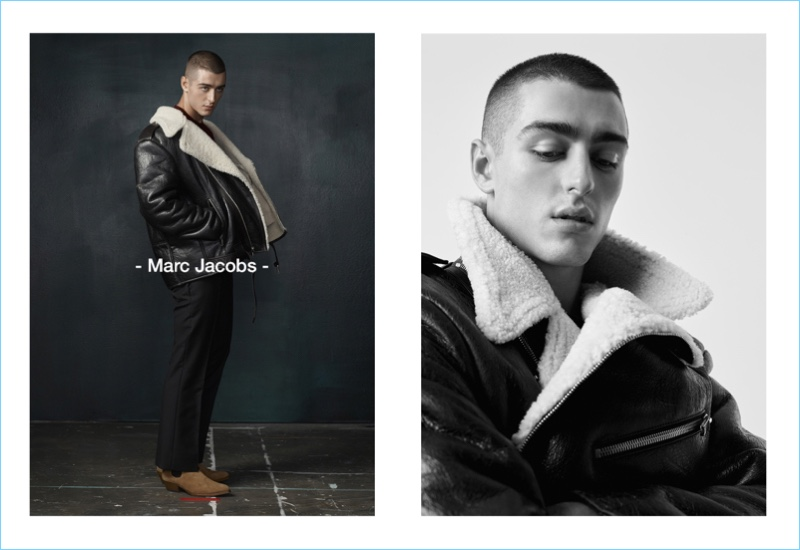 Sporting a Marc Jacobs leather and shearling jacket, Andrés Sanjuan connects with Simons.