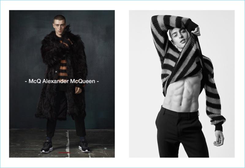 Andrés Sanjuan dons looks from Alexander McQueen for Simons.