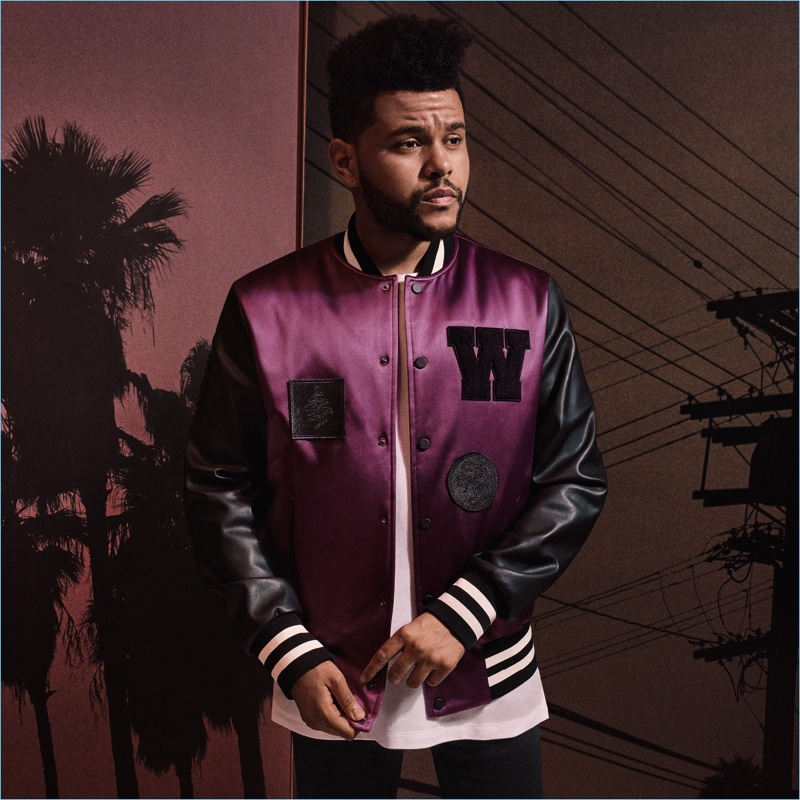 A cool vision, The Weeknd sports a H&M padded baseball jacket $59.99 with a wide-cut t-shirt $14.99.