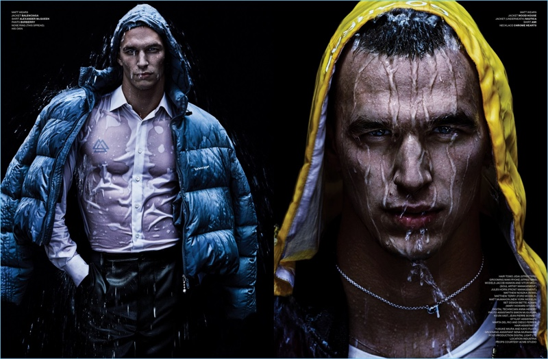 Water Fall: Matthew Terry + More Models Don Outerwear for VMAN