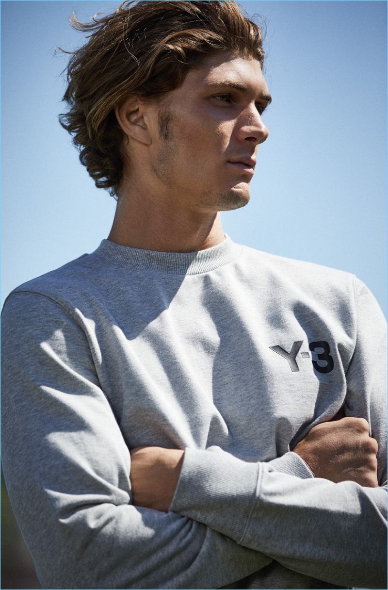 Connecting with East Dane, Jake Lahrman wears a Y-3 classic sweatshirt $180.