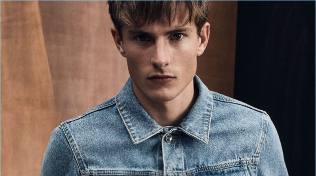 Zara makes a case for double denim with its distressed denim jacket and jeans.