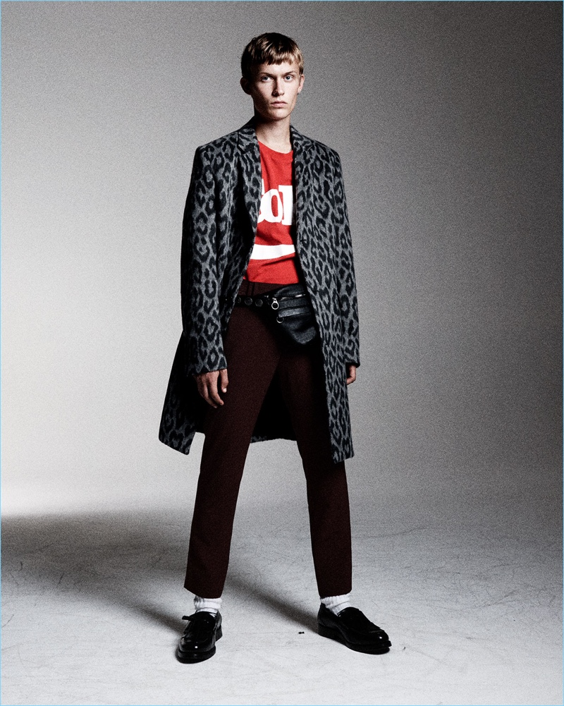 Textured Coat: 1980's Paris serves as inspiration for a bold style moment. Zara Man unveils a leopard single-breasted coat with a punk attitude.