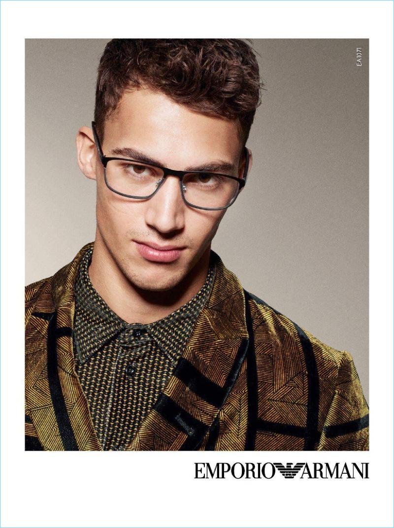 Alessio Pozzi stars in Emporio Armani's fall-winter 2017 eyewear campaign.