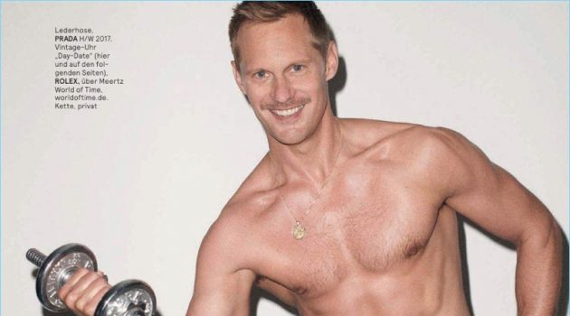 Alexander Skarsgård Shirtless Photo GQ Style Germany Leather Pants