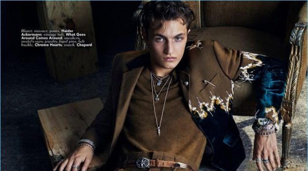 Anwar Hadid stars in an editorial for Vogue Man Arabia.
