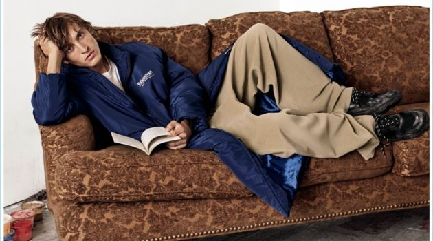 Serious Style: Tim Dibble lounges in a look from Balenciaga.