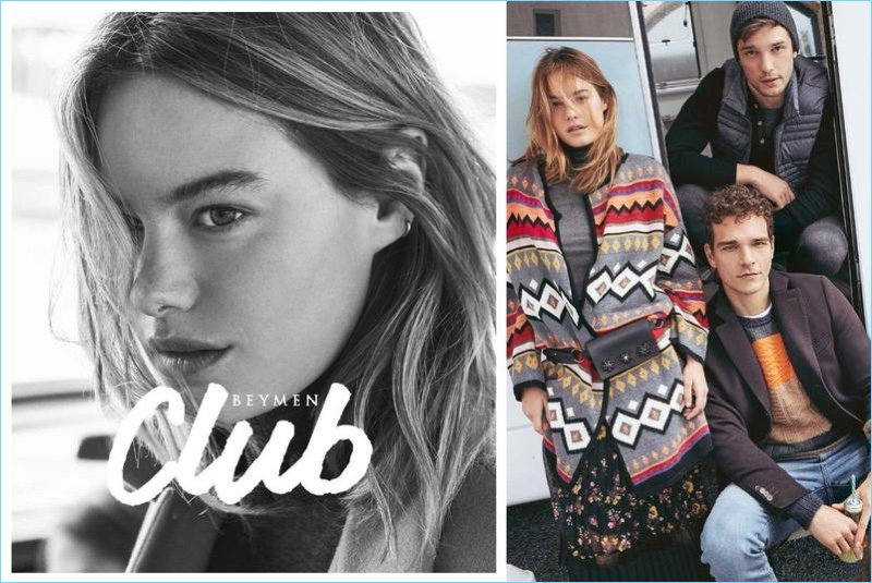 Models Camille Rowe, Alexandre Cunha, and Alexis Petit front Beymen Club's fall-winter 2017 campaign.