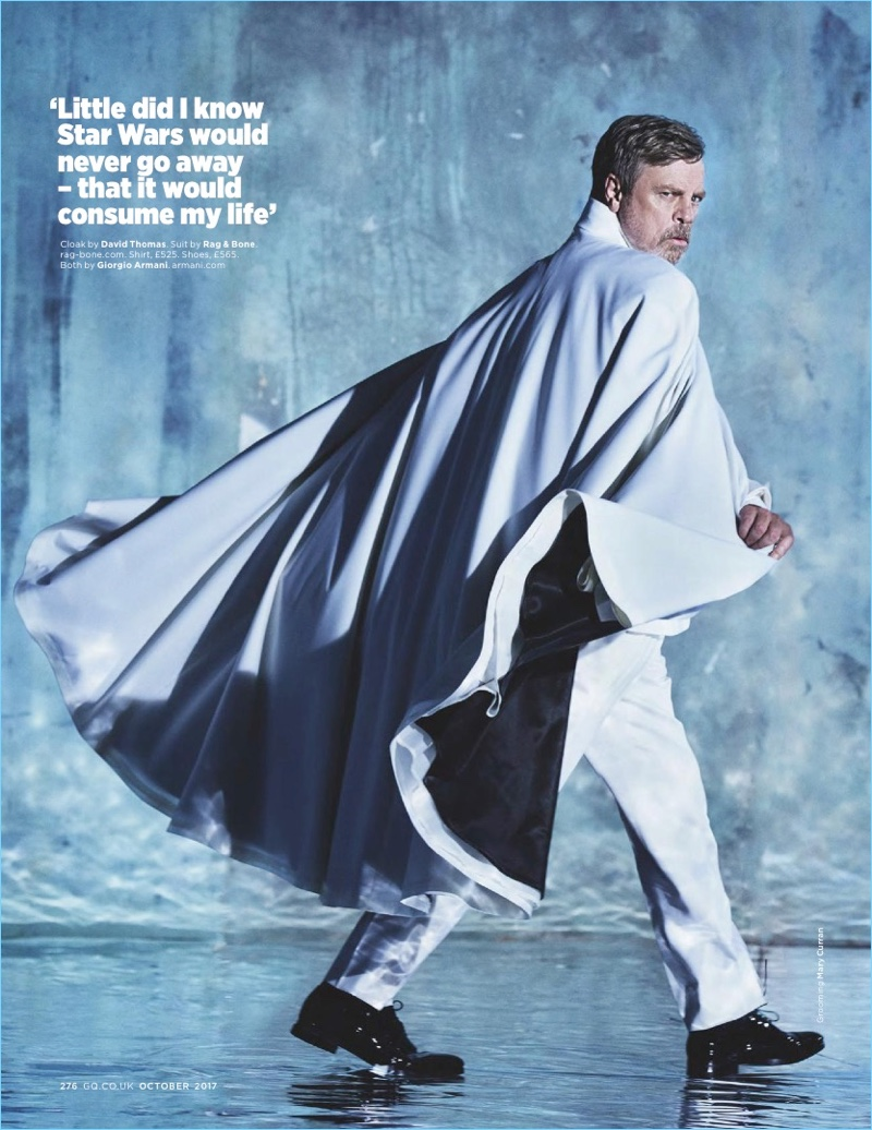 Mark Hamill dons a dashing cape for British GQ.