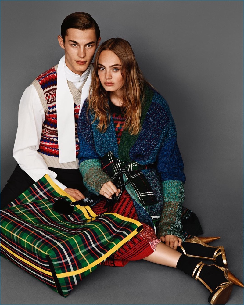 English model Kit Butler couples up with Florence Clapcott for Burberry's fall-winter 2017 campaign.