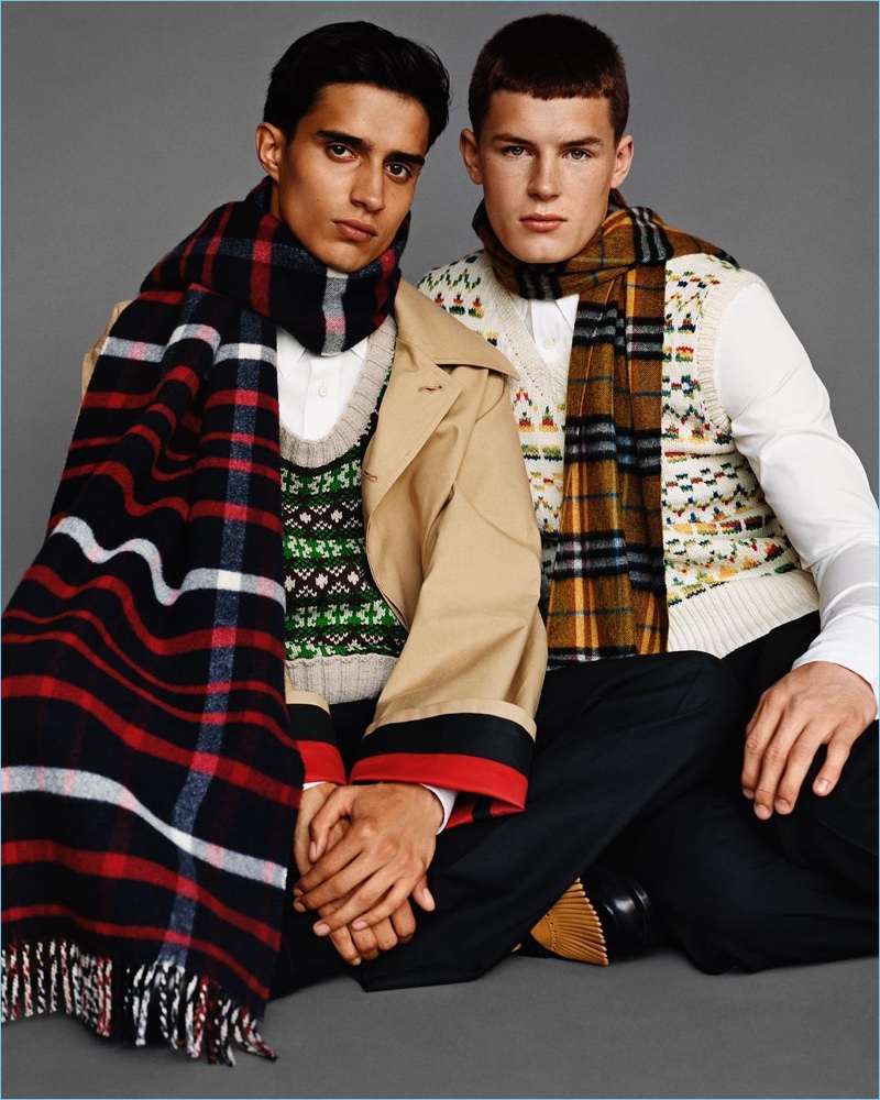 Models Xavier Hickman and Tom Heyes come together for Burberry's fall-winter 2017 campaign.