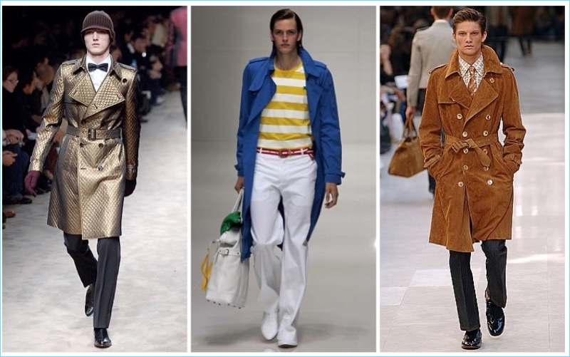 Continuing to transform, the Burberry trench coat suits many occasions. Left to Right: Burberry Fall/Winter 2006, Spring/Summer 2005, Spring/Summer 2006