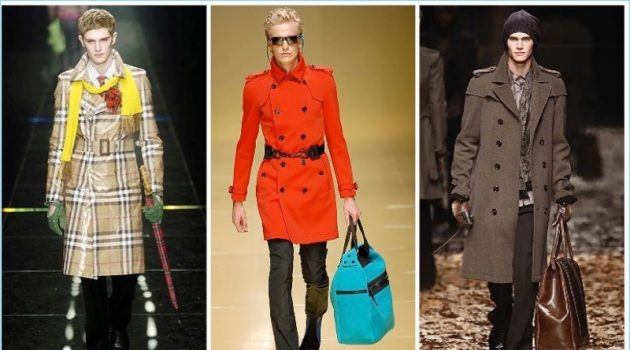 The Burberry trench is revisited by Christopher Bailey. Left to Right: Fall/Winter 2005, Spring/Summer 2008, and Fall/Winter 2008