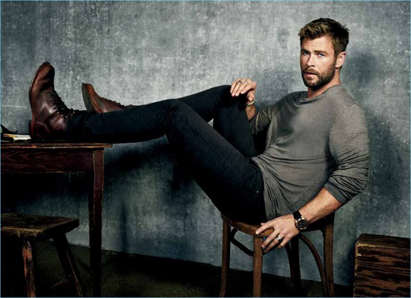 Starring in a new photo shoot, Chris Hemsworth links up with Men's Journal.