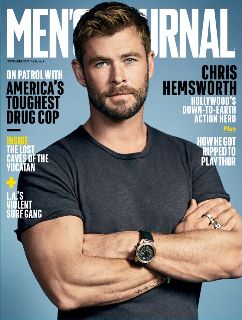 Chris Hemsworth covers the November 2017 issue of Men's Journal.