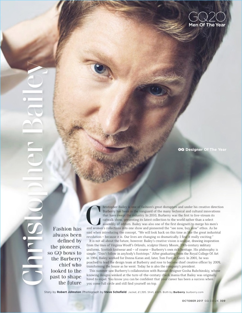 Burberry chief creative officer and president Christopher Bailey for British GQ.