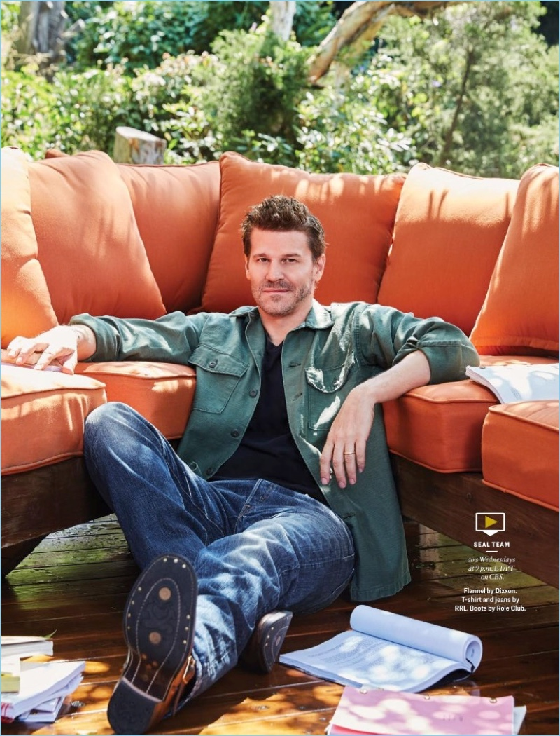 David Boreanaz wears a Dixxon flannel shirt with a t-shirt and jeans by RRL. Boreanaz also wears Role Club boots.