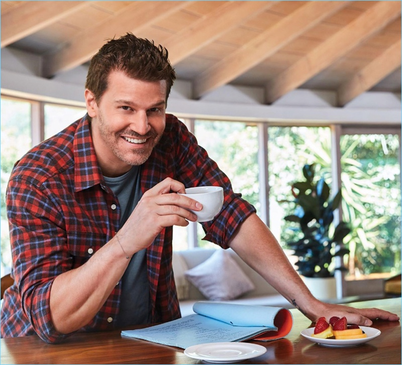 All smiles, David Boreanaz wears a Dixxon flannel shirt with a RRL t-shirt.