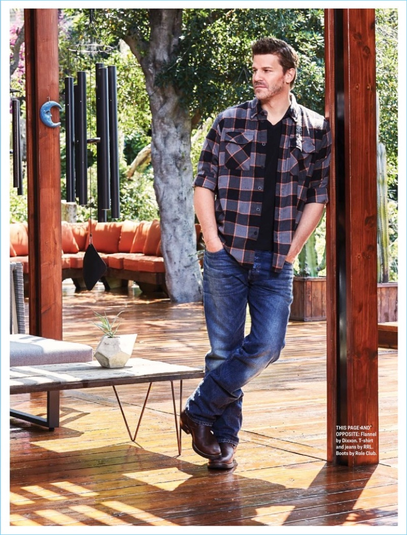 Connecting with Watch magazine, David Boreanaz wears casual styles.