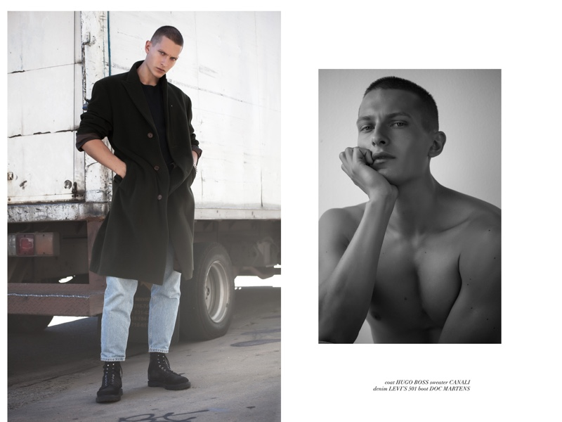 Dmitry wears coat Hugo Boss, sweater Canali, jeans Levi's, and boots Dr Martens.