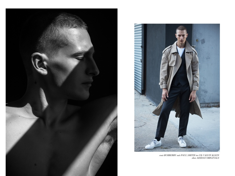 Dmitry wears trench Burberry, suit Paul Smith, t-shirt CK Calvin Klein, and sneakers Adidas Originals.