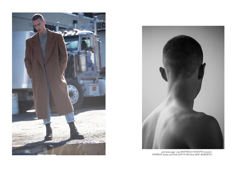 Dmitry wears coat Bottega Veneta, sweater Topman, boots Dr Martens, jeans and belt Levi's.