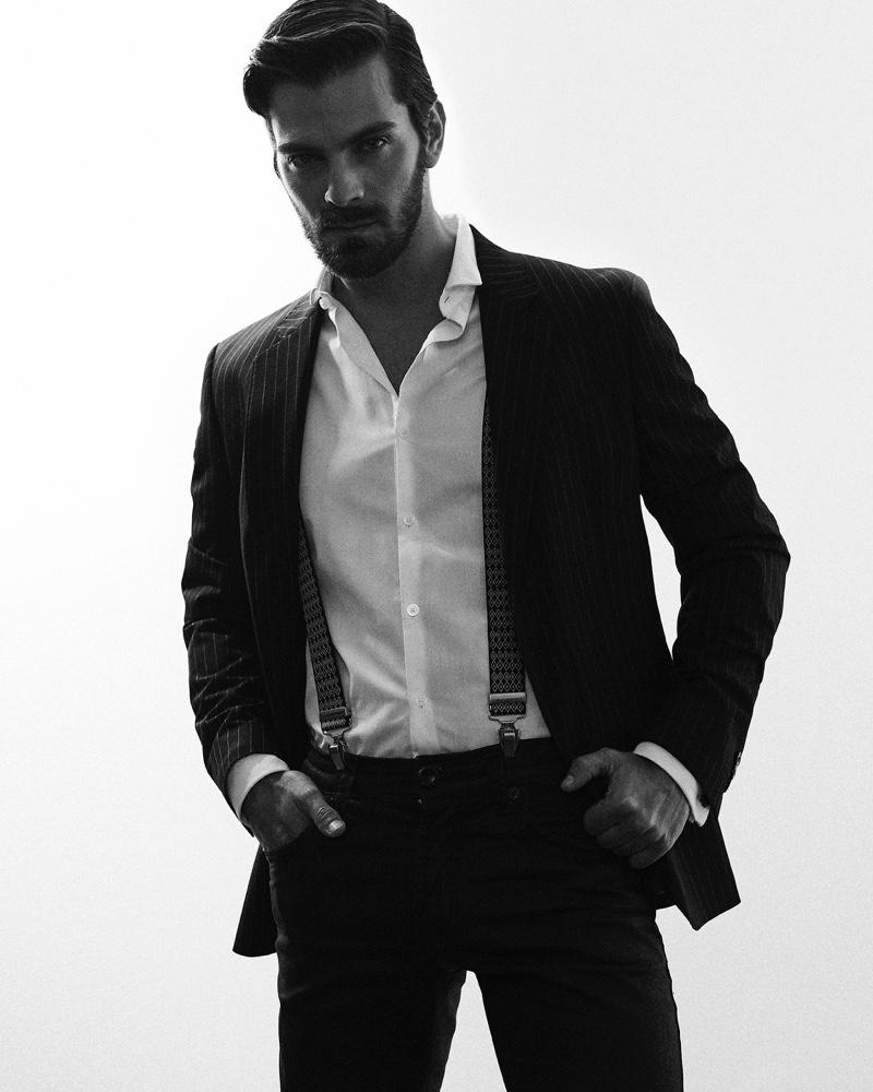Felipe wears blazer Basement, trousers Colcci, shirt, trousers, and suspenders H&M.