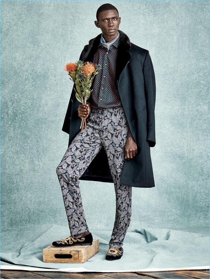 ZILLI coat £15,930 and shirt £690; HANRO pyjama trousers £86.50; TURNBULL & ASSER pocket square (worn as a cravat) £70; JIMMY CHOO shoes £950