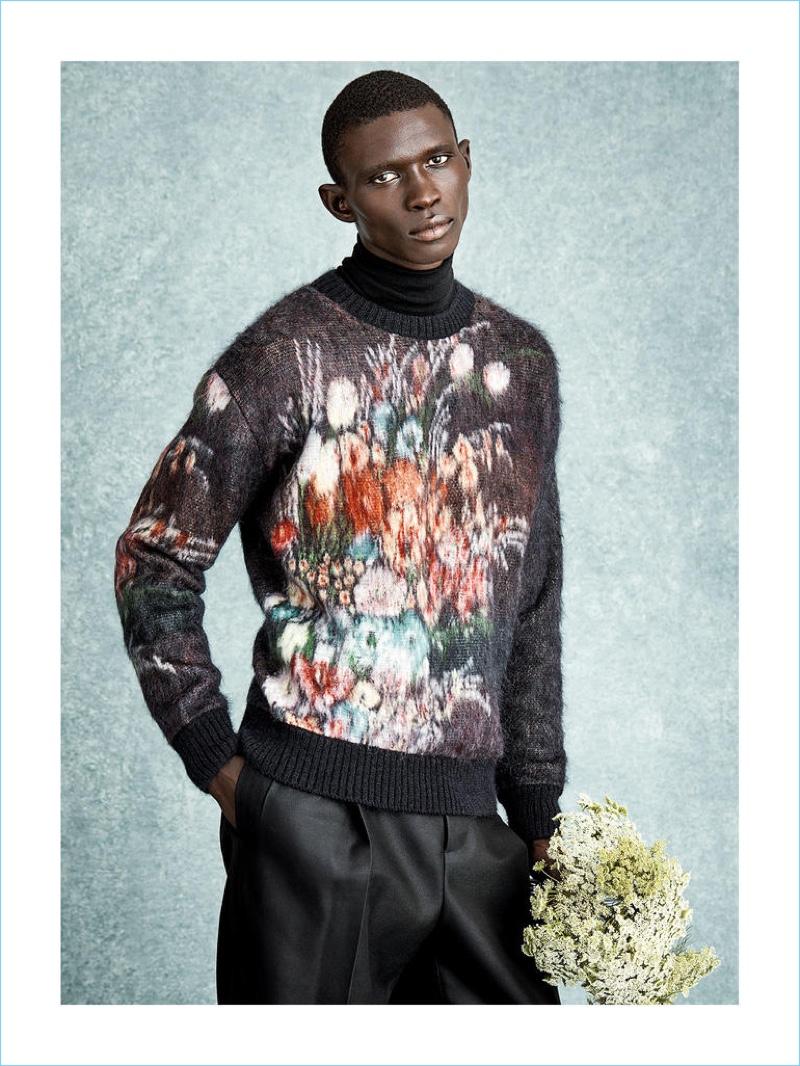 NO.21 sweater £590; RALPH LAUREN PURPLE LABEL polo neck sweater £995; BOTTEGA VENETA trousers £745