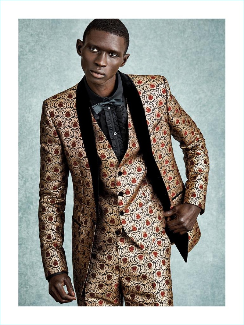 DOLCE & GABBANA jacket £2,150, waistcoat £625, trousers £925, shirt and bow tie from a selection