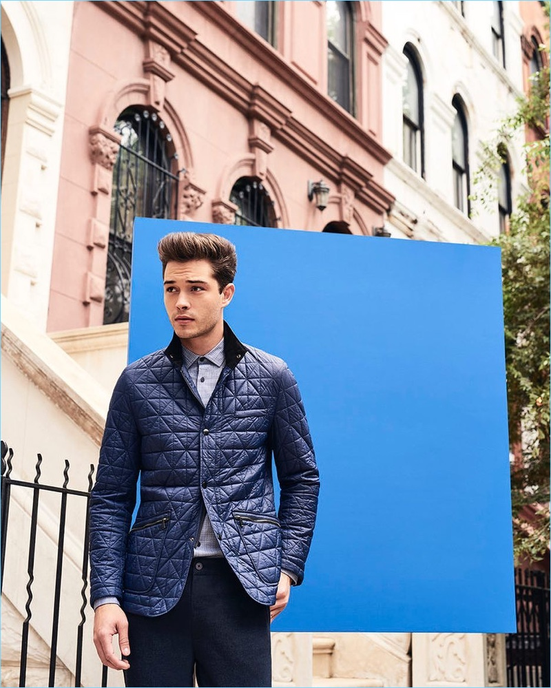 Francisco Lachowski dons a quilted jacket for Vince Camuto's fall-winter 2017 campaign.