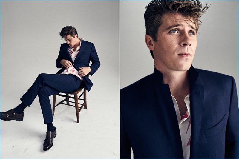 Garrett Hedlund dons a Prada suit with a Visvim shirt and John Lobb shoes.