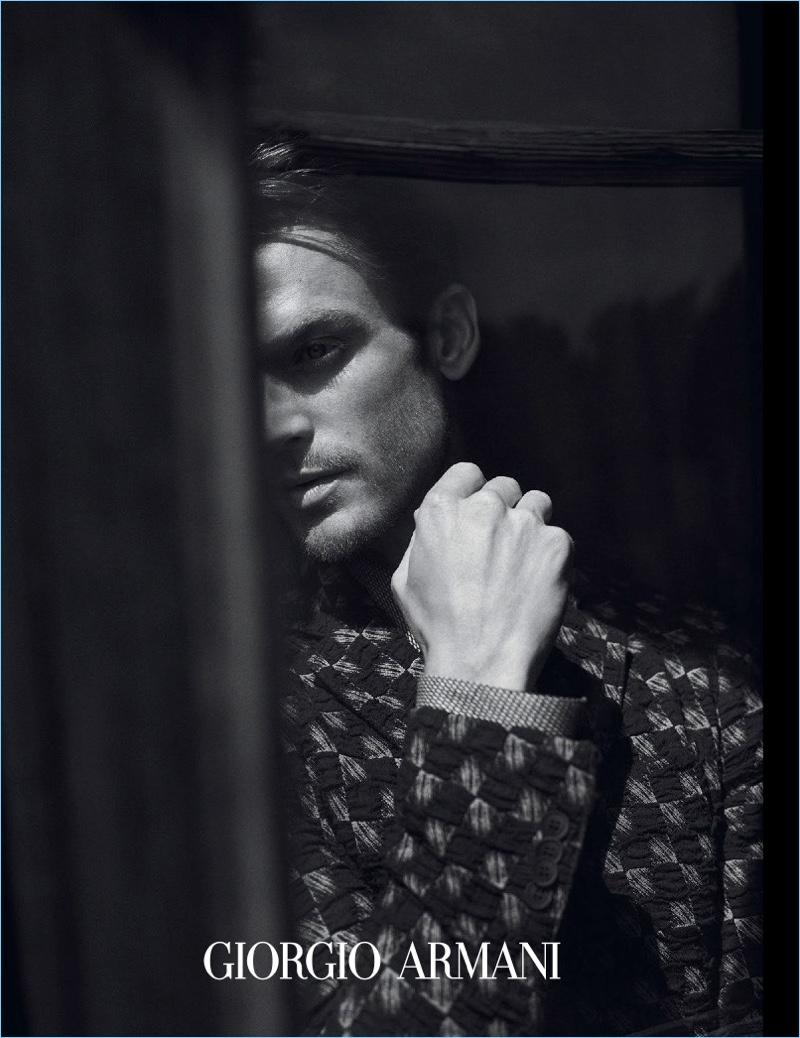 Jason Morgan appears in Giorgio Armani's fall-winter 2017 campaign.