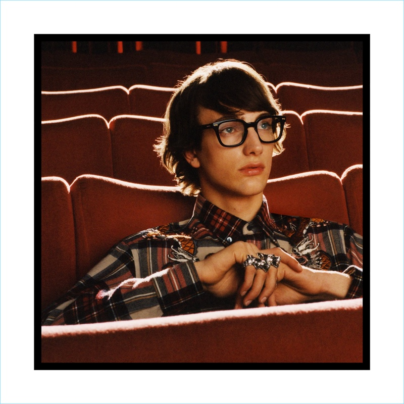 Gucci enlists Thomas Riguelle as the star of its fall-winter 2017 campaign.