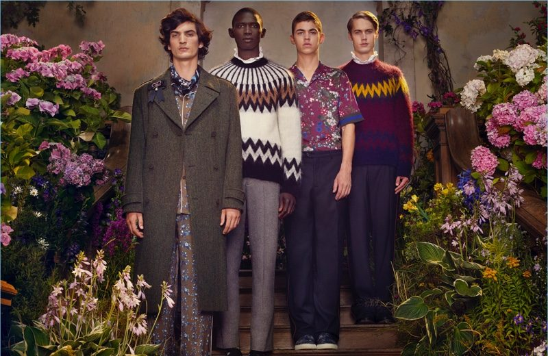 Luca Lemaire, Fernando Cabral, Hero Fiennes-Tiffin, and Neels Visser star in the H&M x ERDEM campaign.