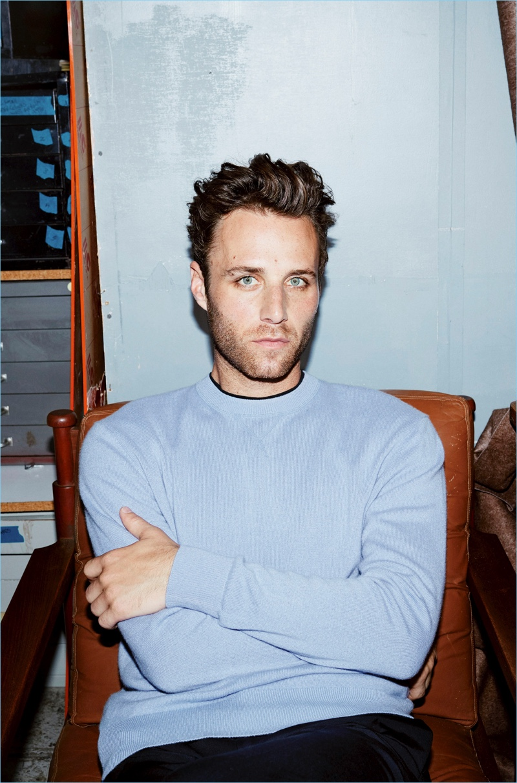 Artist Aaron Bobrow wears a H&M Edition silk-blend sweatshirt $59.99 in light blue mélange.