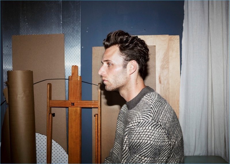 Aaron Bobrow wears a H&M Edition jacquard-knit sweater.
