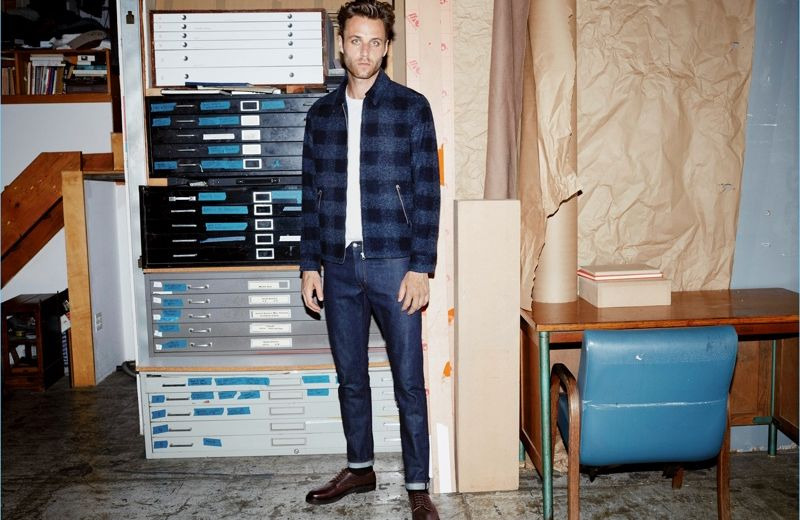 Aaron Bobrow wears a H&M Edition cotton and silk t-shirt with a short wool-blend check jacket. He also rocks H&M Edition selvedge jeans.