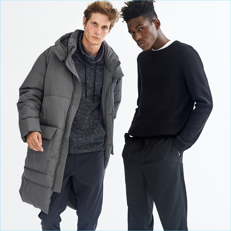 Left: Embracing the oversize trend, Felix Gesnouin wears a reflective parka, cowl collared sweatshirt, and slim-fit pants by H&M. Right: Model Sheani Gist sports a H&M textured sweater, t-shirt, and twill pants.