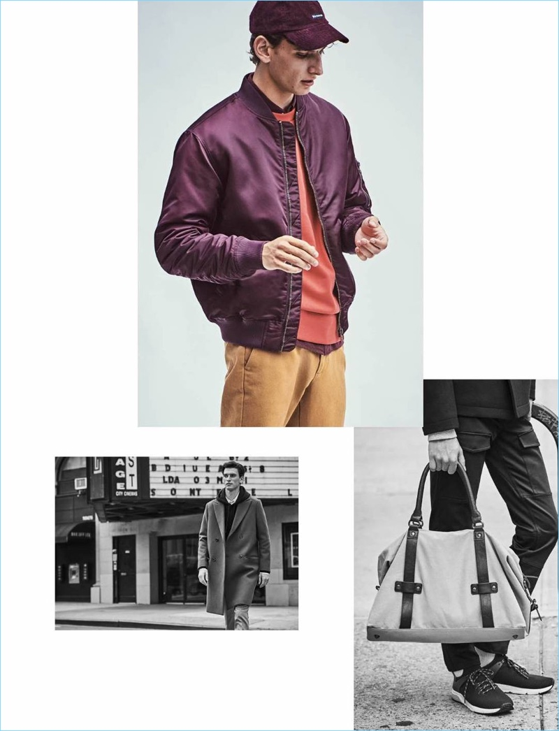 Making a case for color, Thibaud Charon wears a burgundy padded bomber jacket $59.99 from H&M. He also sports a red oversize sweatshirt $29.99, a dark red oxford shirt $29.99, and camel chinos $17.99.