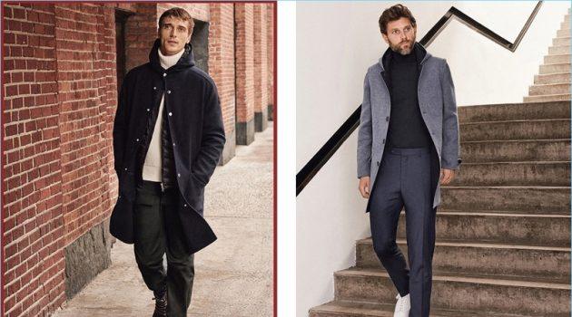 Taking a stroll, Clément Chabernaud wears a Moncler look. Right: RJ Rogenski wears LodenTal.