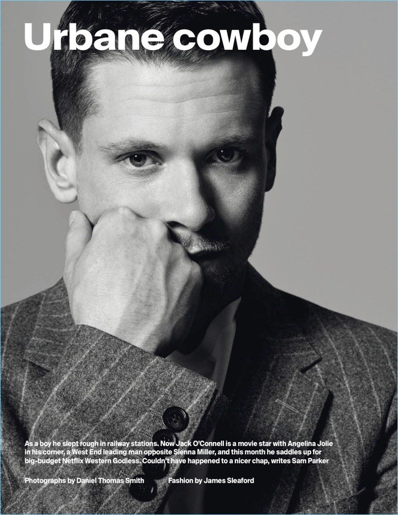 Daniel Thomas Smith photographs Jack O'Connell in Burberry for Esquire UK.