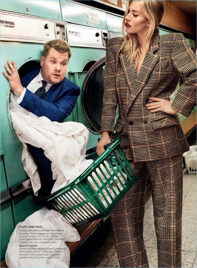 Coming out of a washer, James Corden wears a William Hunt Savile Row suit.