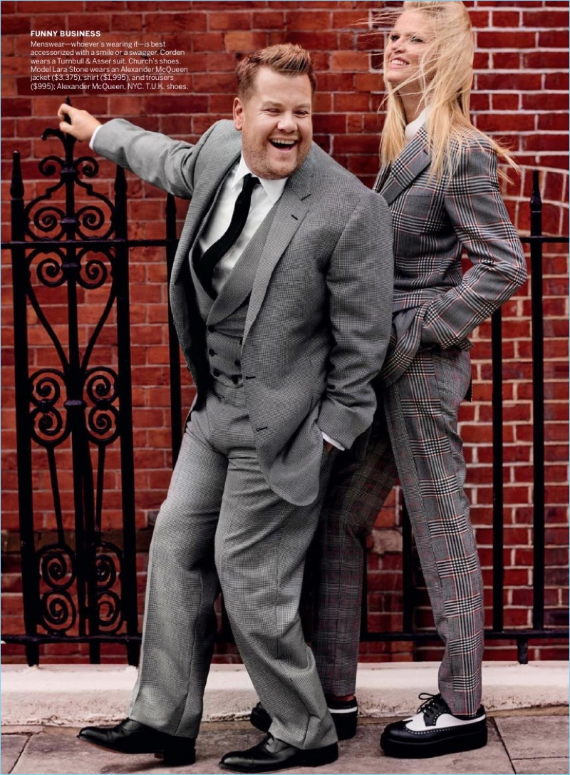 All smiles, James Corden connects with model Lara Stone. He wears a Turnbull & Asser suit with Church's shoes.